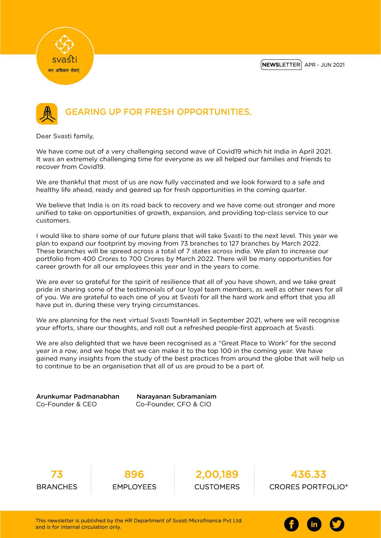 Svasti Newsletter April to June 2021