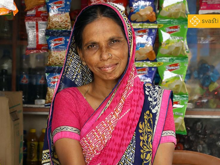 Hausila Sohanalal Gupta - Retail Store Owner, and Svasti Microfinance Customer