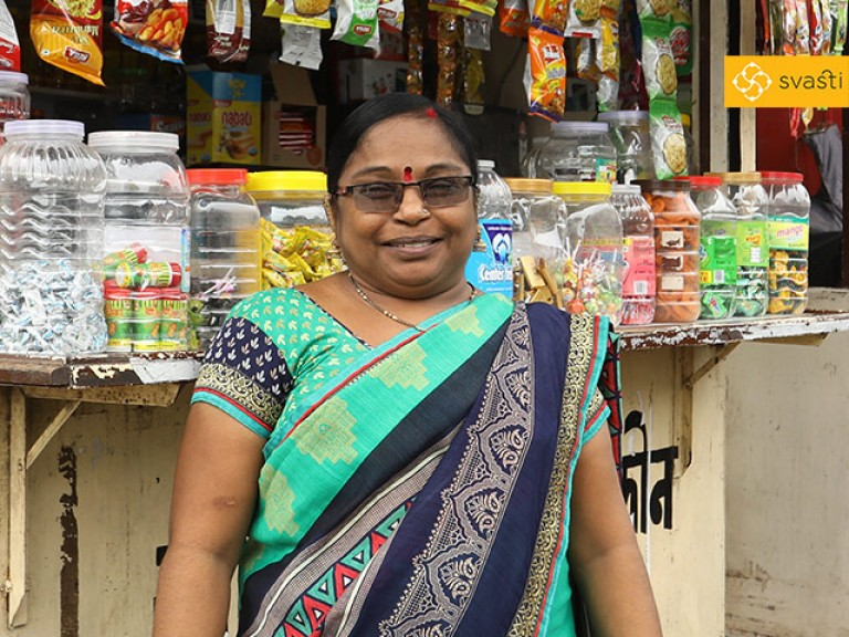 Nisha Vishwakarma - Phone Booth Owner, and Svasti Microfinance Customer