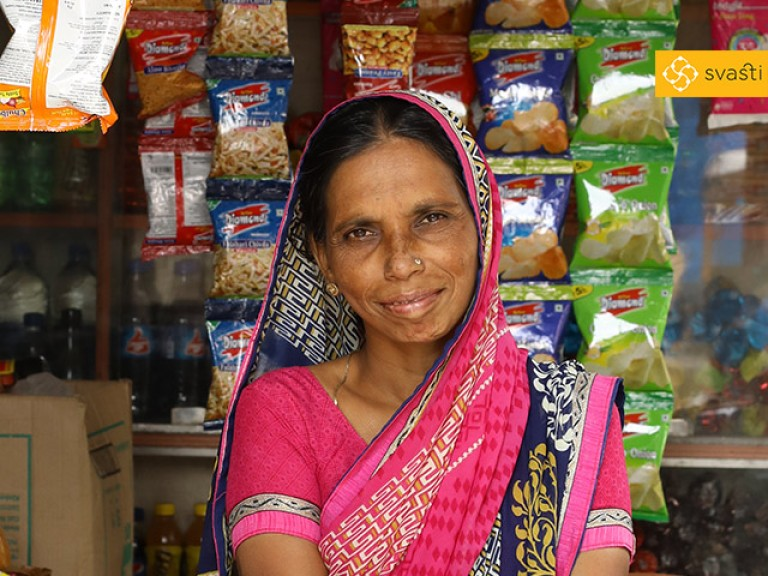 Hausila Sohanalal Gupta - Retail Store Owner, and Svasti Microfinance Customer